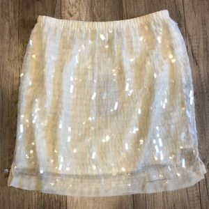 NWT Zara White Skirt with Clear Sequins